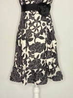 Nanette Lepore Dress Built In Corset Black & White Floral 2