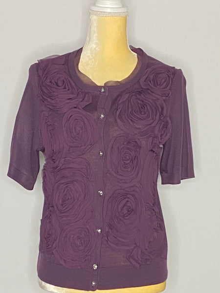 Loft Top Cardigan Blouse Short Sleeve Purple NWT M