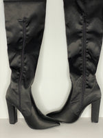 Bamboo Boots Black Satin Above knees W/ZIP NWT 6.5