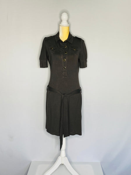 Esprit Dress Short Sleeves Belt Front Buttons M
