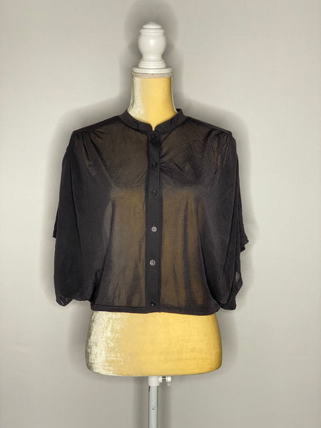 Top Shop Blouse Black Short Sleeves Front Closure