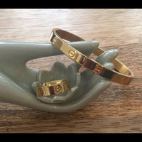 Designer Inspired Gold Tone Bangle And Ring