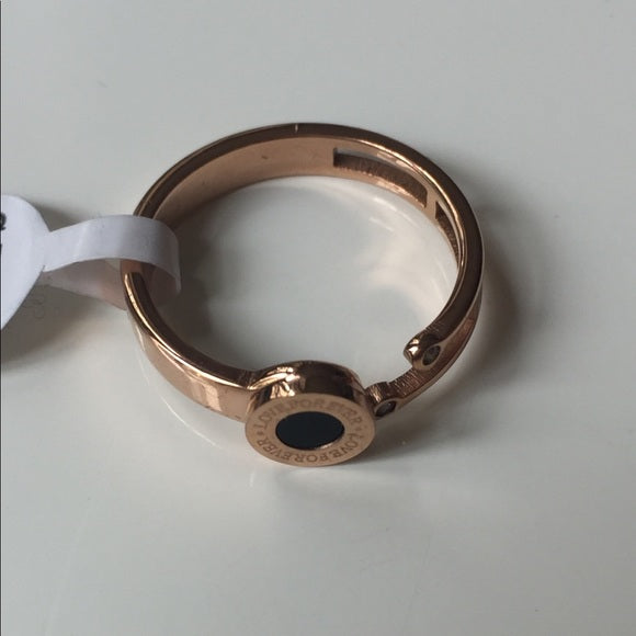 Ring, Rose Gold Script On A Circle, Love For Ever