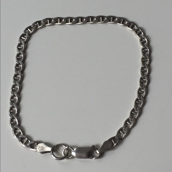 "Sterling Silver Bracelet 7"" Long Fantastic Shape"