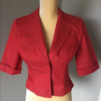 Cynthia Steffens Jacket Red Short Sleeve SZ 4