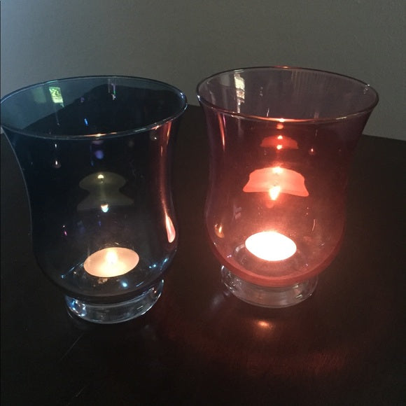 A pair of Goblet Candle Holder In Rose-Pink & Blue