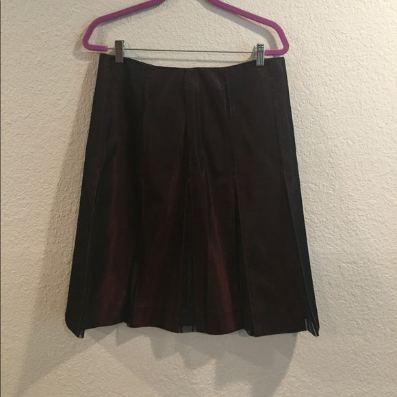 DKNY Burgundy Skirt With Black Lace Pleats Size 8