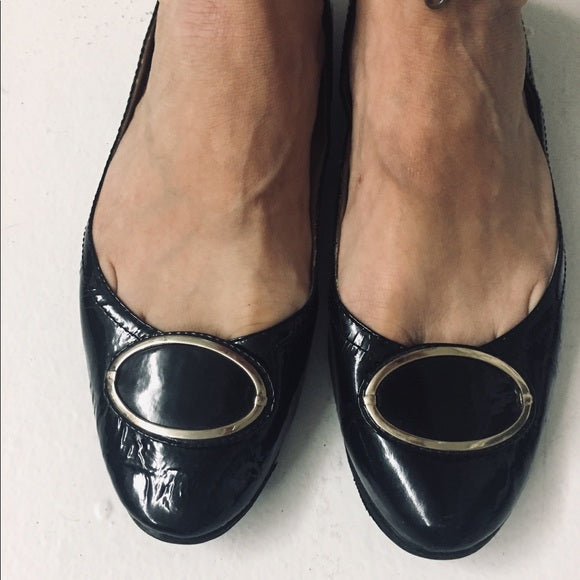 Oscar De La Renta Flats Black Patent Leather SZ9.5