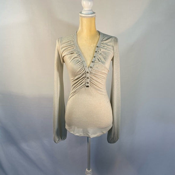 Miss Sixty Ruched Gray Blouse