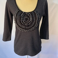 White House Black Market Top Black White NWT SZ S