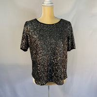 Rhyme Blouse Top Black Sequined Front SZ M