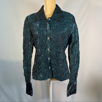 JS Collection Byron Down Shirt Top Blue-Green SZ14