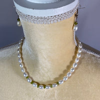 Necklace & Earring Set-Freshwater Pearls & Peridot