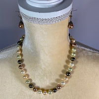 Necklace & Earring Set- Multicolor Pearls