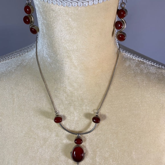 Necklace & Earring Set-Carnelian Stone