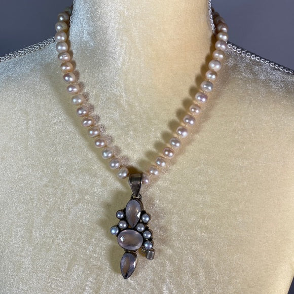 Necklace- Freshwater Pearls & Rose Quartz