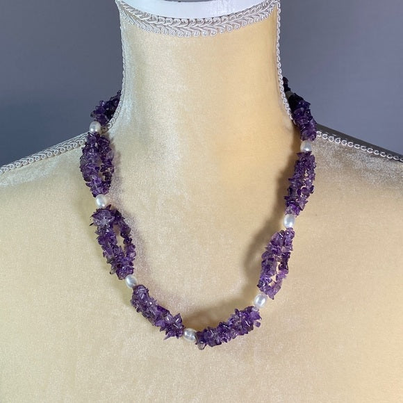 Necklace- Amethyst & Freshwater Pearls