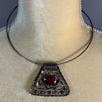 Necklace/Choker- Vintage Ruby and Silver
