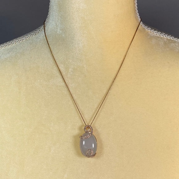 Necklace- Oval Lavender-Jade 14kt chain