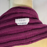 S O * D A Scarf Knitted Wine With Faux Fur