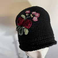 Knitted Winter Hat Black With Flowers
