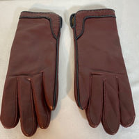 Gloves Thick Leather Maroon With Black Trims SZ 7