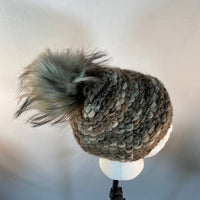 Beanie Hat With Pom Pom Knitted Brown & Cream