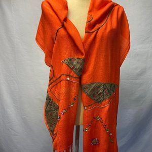 Lamaria Shawl/ Scarf Orange With Patch Work & Sequence