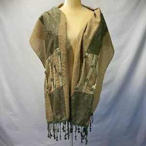 FY Shawl/ Scarf With Fringes Tape Green Cream