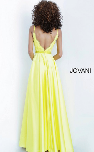 Jovani Yellow Lace Romper with Overskirt