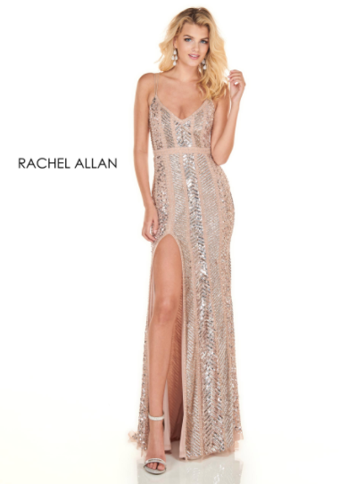 Rachel Allan Champagne V-Neck Fitted Gown
