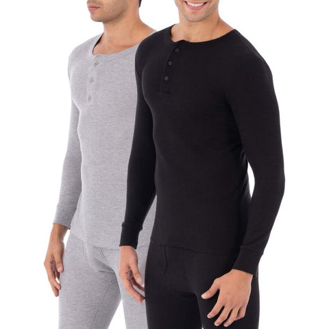 Fruit of the loom SUPER VALUE 2 Pack Men's & Big Men's Thermal Underwear Waffle Henley Top
