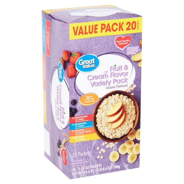 Great Value Instant Oatmeal, Fruit & Cream Variety Value Pack, 20 Packets