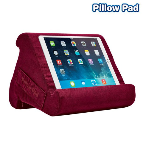 Pillow Pad Multi Angle Cushioned Tablet and iPad Stand, Burgundy, As Seen on TV