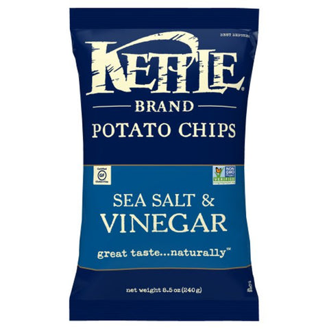 Kettle Brand Potato Chips, Sea Salt and Vinegar Kettle Chips, 8.5 Oz