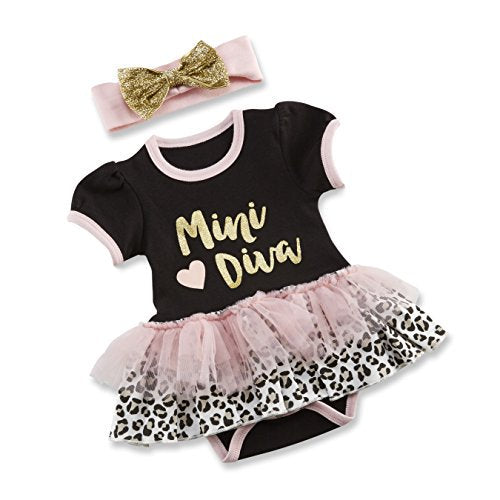 Baby Aspen My First Fashionista Outfit with Headband, Pink/Black/Gold/Beige, 0-6 Months