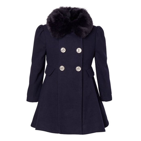 Cremson Girls' Wool Blend Princess Winter Dress Pea Coat Jacket Faux Fur Collar - Midnight (Size 6)