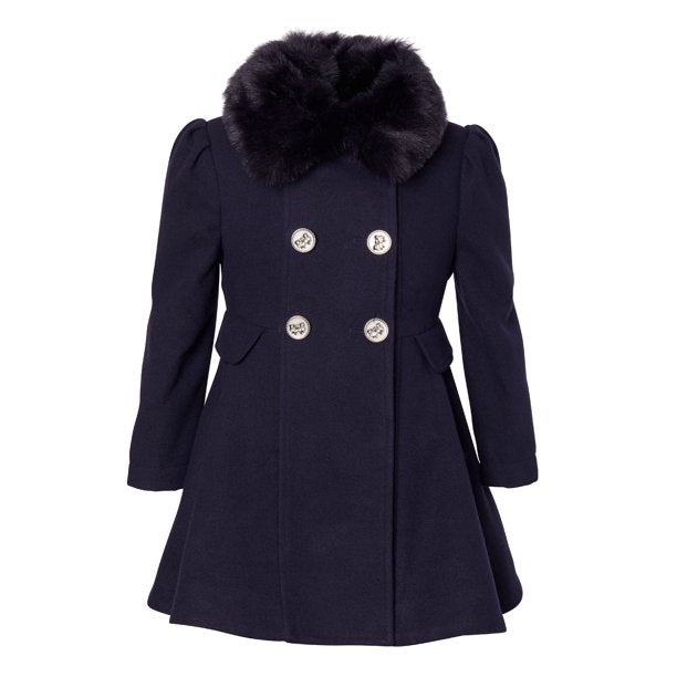 Cremson Girls' Wool Blend Princess Winter Dress Pea Coat Jacket Faux Fur Collar - Midnight (Size 14)