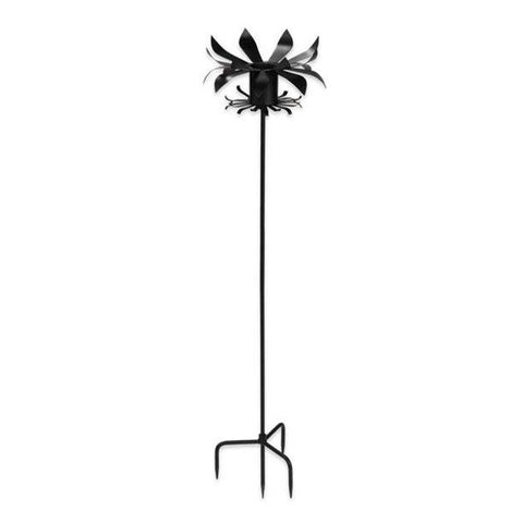 ACHLA DESIGNS GBS-13 PETALS GAZING BALL WROUGHT IRON GLOBE AND TOADSTOOL STAND, BLACK