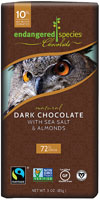 Endangered Species Dark Chocolate 72% Cocoa Bar Vegan Glulten Free Sea Salt and Almonds -- 3 oz