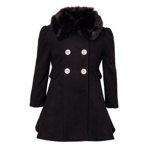 Cremson Girls' Wool Blend Princess Winter Dress Pea Coat Jacket Faux Fur Collar - Black (Size 6)
