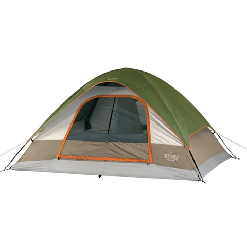 Wenzel Pine Ridge Green 5-Person Dome Camping Tent with Lite Reflect System, Removable Divider Curtain, and Gear Loft