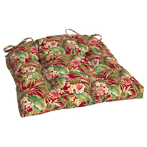 Mainstays Red Tropical Outdoor Patio 20 in W x 18 in D x 3.5 in H Wicker Seat Cushion