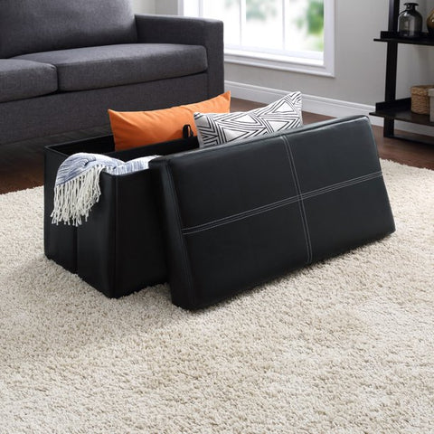 Mainstays Collapsible Storage Ottoman, Black Faux Leather