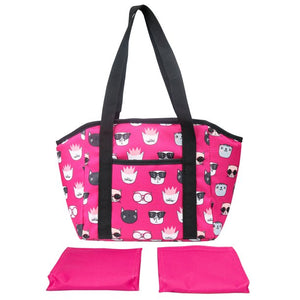 Mainstays Satchel Lunch Kit with 2 Matching Ice Packs, Pink Cats