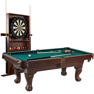 "Barrington 90"" Ball and Claw Leg Billiard, Pool Table with Cue Rack and Dartboard Set"