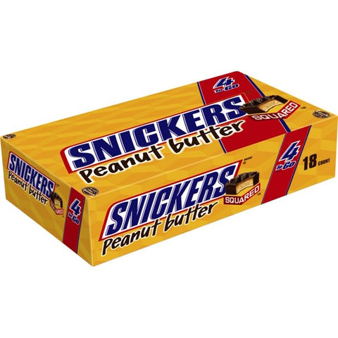 SNICKERS Peanut Butter Squared 4 To Go Chocolate Candy Bars, 3.56 Oz. Pack, 18 Ct.Box