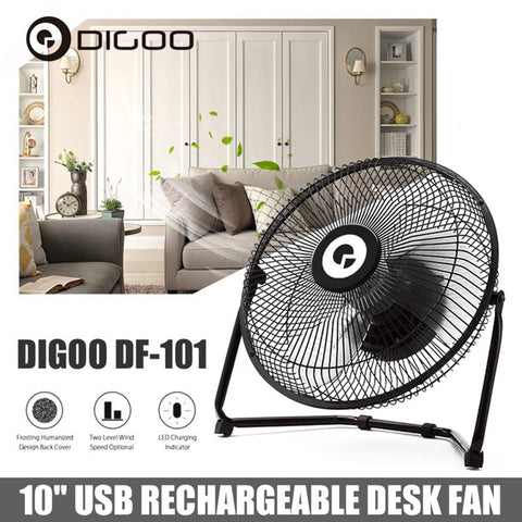 Desk Fan,DIGOO 360° Rotatable USB Fan Table Air Circulator Fan with LED Indicator- Portable Mini Table Cooling Fan - Plugs into Computer - Quiet, Rubber Grip Feet - Black