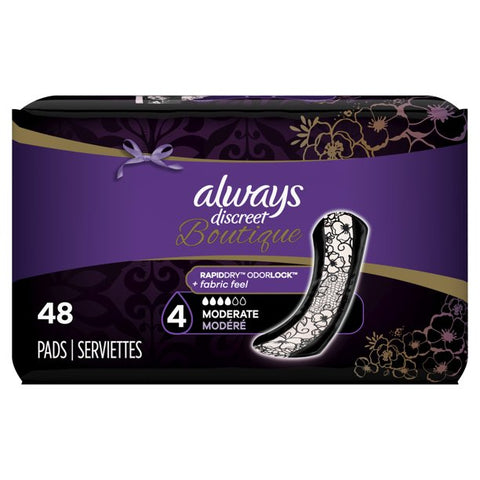 Always Discreet Boutique Incontinence Pads, Moderate Absorb, 48 ct