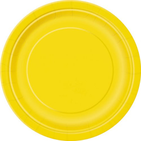 Paper Plates, 9 in, Yellow, 50ct